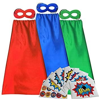 【中古】【輸入品・未使用未開封】ADJOY 子供用スーパーヒーローケープとマスク 大きなスーパーヒーローステッカー付き パーティー用スーパーヒーローコスチューム 3セット (レッ画像