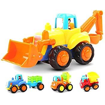 中古  輸入品・未使用未開封 GoStock摩擦動力プッシュ&ゴーおもちゃ123歳の男児/女児向け4セットトラクター/ブルドー