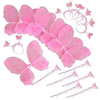 【中古】【輸入品・未使用未開封】Butterfly Craze Heart to Heart Wings & Wand コスチューム 6個セット ピンク画像