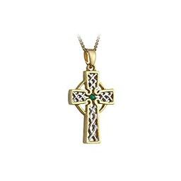 【中古】【輸入品・未使用未開封】Gold Plated Two Tone Filigree Celtic Cross Necklace-Irish Made
