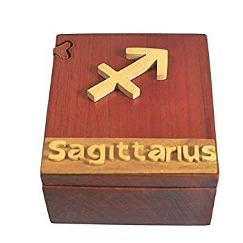 【中古】【輸入品・未使用未開封】Handmade Wooden Art Intarsia Trick Secret Sagittarius Zodiac Horoscope 1 Jewelry Puzzle Trinket Box (4518) (g3) [並行輸入品]画像