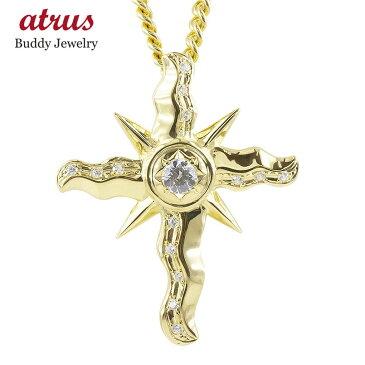 18金 ネックレス メンズ トップ 喜平用 ダイヤモンド 太陽 クロス ペンダントトップ ゴールド 18K イエローゴールドk18 十字架 チェーン キヘイ 送料無料