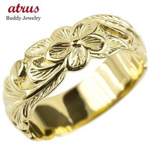 ゴールド リング メンズ ハワイアンジュエリー 指輪 イエローゴールドk10 幅広 プルメリア ピンキーリング 地金 シンプル 男性 送料無料