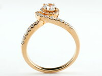 鑑定書付婚約指輪エンゲージリングダイヤモンド取り巻きピンクゴールドk18ダイヤ18金ストレートレディースブライダルジュエリーウエディング