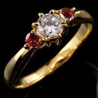 婚約指輪エンゲージリングダイヤモンドリングガーネット指輪大粒ダイヤイエローゴールドK1818金ダイヤモンドリングダイヤストレートレディースブライダルジュエリーウエディング