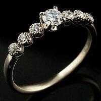 鑑定書付き婚約指輪ダイヤモンドリング指輪大粒ダイヤVSクラスダイヤモンドリングミル打ちホワイトゴールドk1818金ストレートレディースブライダルジュエリーウエディング