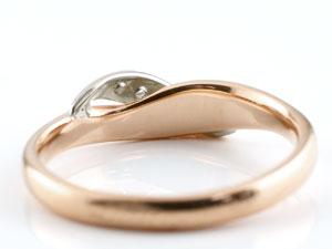 婚約指輪 エンゲージリング ダイヤモンド ピンキーリング ピンクゴールドk18 プラチナ ダイヤ 18金 コンビリング ストレート 指輪 レディース 贈り物 誕生日プレゼント ギフト ファッション お返し