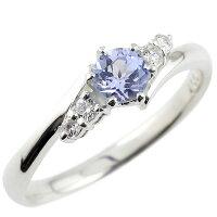 婚約指輪エンゲージリングタンザナイトダイヤモンドリング指輪一粒大粒ホワイトゴールドK18ストレート18金