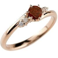 婚約指輪エンゲージリングガーネットダイヤモンドリング指輪一粒大粒ピンクゴールドk10ストレート10金