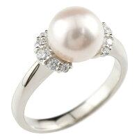 パールリング真珠エンゲージリングキュービックジルコニア婚約指輪ホワイトゴールドk18リング指輪18金ストレート