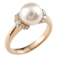 パールリング真珠エンゲージリングキュービックジルコニア婚約指輪ピンクゴールドk18リング指輪18金ストレート