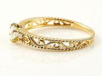 鑑定書付きエンゲージリングVSクラスイエローゴールドk18ダイヤモンドアンティーク透かしミル打ち指輪一粒大粒ダイヤダイヤモンドリングk1818金