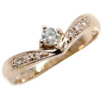 【送料無料】エンゲージリング婚約指輪ダイヤモンド一粒ピンクゴールドK1818金ダイヤモンドリングダイヤストレートレディースブライダルジュエリーウエディング