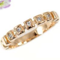【送料無料】ダイヤモンドリングエンゲージリング婚約指輪ピンクゴールドK18指輪ダイヤモンド0.06ct18金ダイヤモンドリングダイヤストレート