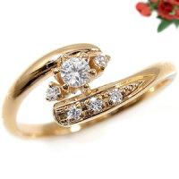 【送料無料】エンゲージリング婚約指輪ダイヤモンドリング18金ダイヤストレート