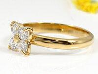 【送料無料】エンゲージリング婚約指輪ダイヤモンドリングピンキーリングイエローゴールドk18ダイヤモンド0.40ct指輪18金ダイヤモンドリングダイヤストレート
