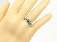 【送料無料】エンゲージリング指輪ブルーダイヤモンドリングピンキーリングダイヤホワイトゴールドK1818金ダイヤモンドリングストレート