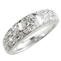 【送料無料】鑑定書付きパヴェエンゲージリング婚約指輪一粒大粒ホワイトゴールドk1818金ダイヤモンドリングダイヤストレート