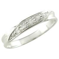 婚約指輪エンゲージリングダイヤモンドリングダイヤ0.05ctピンキーリングホワイトゴールドk1818金ダイヤモンドリングストレート