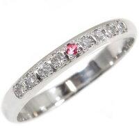 【送料無料】婚約指輪エンゲージリングダイヤモンドルビーハーフエタニティホワイトゴールドk1818金ダイヤモンドリングダイヤストレート