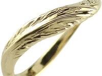 【送料無料】V字婚約指輪エンゲージリングダイヤモンドフェザーイエローゴールドk1818金ダイヤモンドリングウェーブリングダイヤ