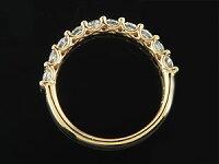 【送料無料】婚約指輪エンゲージリングダイヤモンドハーフエタニティイエローゴールドk1818金ダイヤモンドリングダイヤストレート