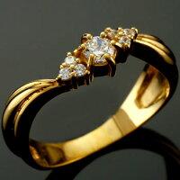 【送料無料】鑑定書付婚約指輪エンゲージリングダイヤモンドリングイエローゴールドk1818金ダイヤモンドリングダイヤストレート