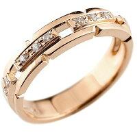 【送料無料】婚約指輪エンゲージリングダイヤモンドリング幅広指輪ピンキーリングダイヤダイヤモンドリングピンクゴールドk1818金レディースストレート
