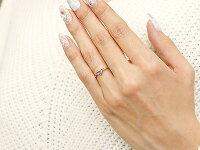 【送料無料】ピンキーリングエンゲージリングイニシャルネームJ婚約指輪アメジストダイヤモンドピンクゴールドk10指輪アルファベット10金レディース2月誕生石人気
