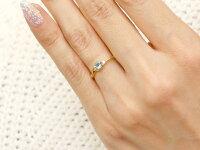 【送料無料】エンゲージリングイニシャルネームA婚約指輪アクアマリンダイヤモンドイエローゴールドk18指輪アルファベット18金レディースピンキーリング3月誕生石人気