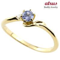 【送料無料】ピンキーリングエンゲージリングイニシャルネームF婚約指輪タンザナイトダイヤモンドイエローゴールドk18指輪アルファベット18金レディース12月誕生石人気