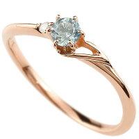 【送料無料】エンゲージリングイニシャルネームT婚約指輪アクアマリンダイヤモンドピンクゴールドk18指輪アルファベット18金レディース3月誕生石人気