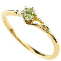 【送料無料】エンゲージリングイニシャルネームT婚約指輪ペリドットダイヤモンドイエローゴールドk10指輪アルファベット10金レディース8月誕生石人気