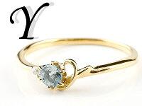 【送料無料】エンゲージリングイニシャルネームY婚約指輪アクアマリンダイヤモンドイエローゴールドk18指輪アルファベット18金レディース3月誕生石人気
