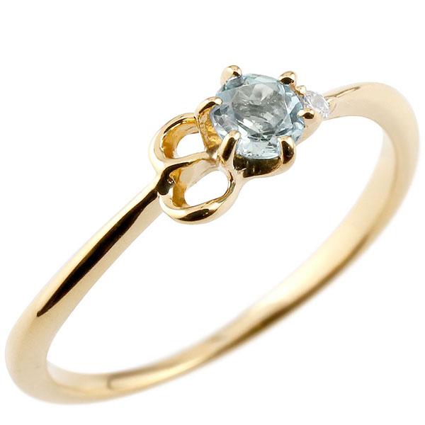 【送料無料】ピンキーリング エンゲージリング イニシャル ネーム E 婚約指輪 アクアマリン ダイヤモンド イエローゴールドk18 指輪 アルファベット 18金 レディース 3月誕生石 人気