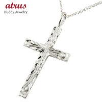 【送料無料】メンズハワイアンクロスネックレスペンダント十字架ホワイトゴールドk10ミル打ちデザインチェーン人気男性10金男性用