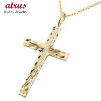 【送料無料】ハワイアンジュエリークロスネックレスペンダント十字架イエローゴールドk18ミル打ちデザインチェーン人気18金
