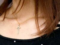 【送料無料】メンズハワイアンジュエリークロスネックレスブルートパーズイエローゴールドk10ペンダント十字架チェーン人気11月誕生石10金
