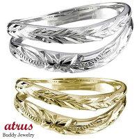 【送料無料】ハワイアンペアリング人気ホワイトゴールドk18イエローゴールドk18結婚指輪k18ハワイアンジュエリーミル打ちミル地金リング18金k18wgk18yg