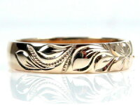 【送料無料】ハワイアンジュエリーペアリング人気ホワイトゴールドk18結婚指輪ピンクゴールドk18地金リング18金k18wgk18pgストレートカップル