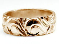 【送料無料】ハワイアンジュエリーペアリング人気ピンクゴールドk18結婚指輪マリッジリング地金リング18金k18pgストレートカップル