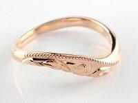ハワイアンペアリング人気結婚指輪ミル打ちピンクゴールドk18地金リング18金k18pgウェーブリングストレートカップル