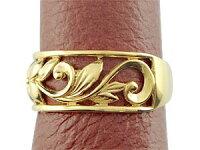ハワイアンペアリング人気結婚指輪ミル打ち幅広透かしイエローゴールドk18地金リング18金k18ygストレートカップル
