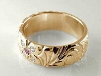 ハワイアンペアリング人気結婚指輪ピンクトルマリンダイヤモンド幅広ピンクゴールドk10ホワイトゴールドk1010金ダイヤストレートプロポーズ記念日誕生日マリッジリング