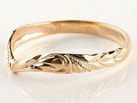 【送料無料】ハワイアンジュエリーピンクゴールドk18ペアリングキュービックジルコニア結婚指輪マリッジリングハワイアンリングV字k18カップル