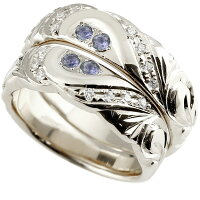 結婚指輪ペアリングハワイアンジュエリーアイオライトダイヤモンドホワイトゴールドk18幅広指輪マリッジリングハートストレートカップル18金プロポーズ記念日誕生日マリッジリング