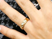 結婚指輪ペアリングハワイアンジュエリーアクアマリンダイヤモンドイエローゴールドk18幅広指輪マリッジリングハートストレートカップル18金プロポーズ記念日誕生日マリッジリング