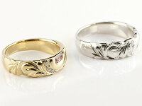 結婚指輪ペアリングハワイアンジュエリーピンクトルマリンダイヤモンドイエローゴールドk10ホワイトゴールドk10幅広指輪マリッジリングハート10金プロポーズ記念日誕生日マリッジリング