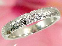 結婚指輪ハワイアンペアリング人気ダイヤモンドダイヤホワイトゴールドk182本セット18金k18wgストレートカップル