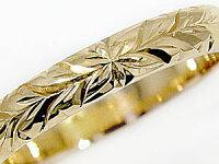 【送料無料】結婚指輪ハワイアンペアリング人気イエローゴールドk18k182本セット地金リング18金k18ygストレートカップル
